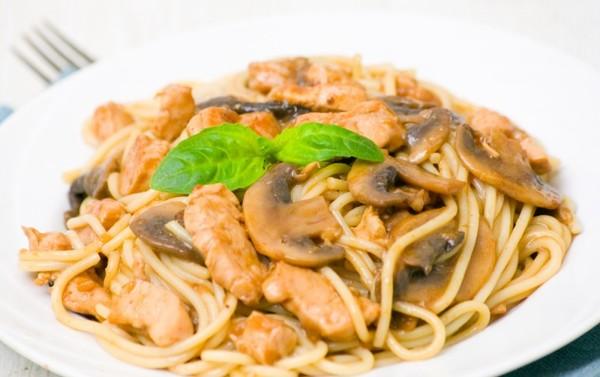 Спагетті з печерицями: з куркою, під грибним соусом