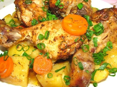 Курячі гомілки з картоплею в духовці: покрокові рецепти